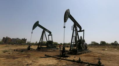Oil and Natural Gas Corp's (ONGC) wells are pictured in an oil field on the outskirts of the western city of Ahmedabad, India.