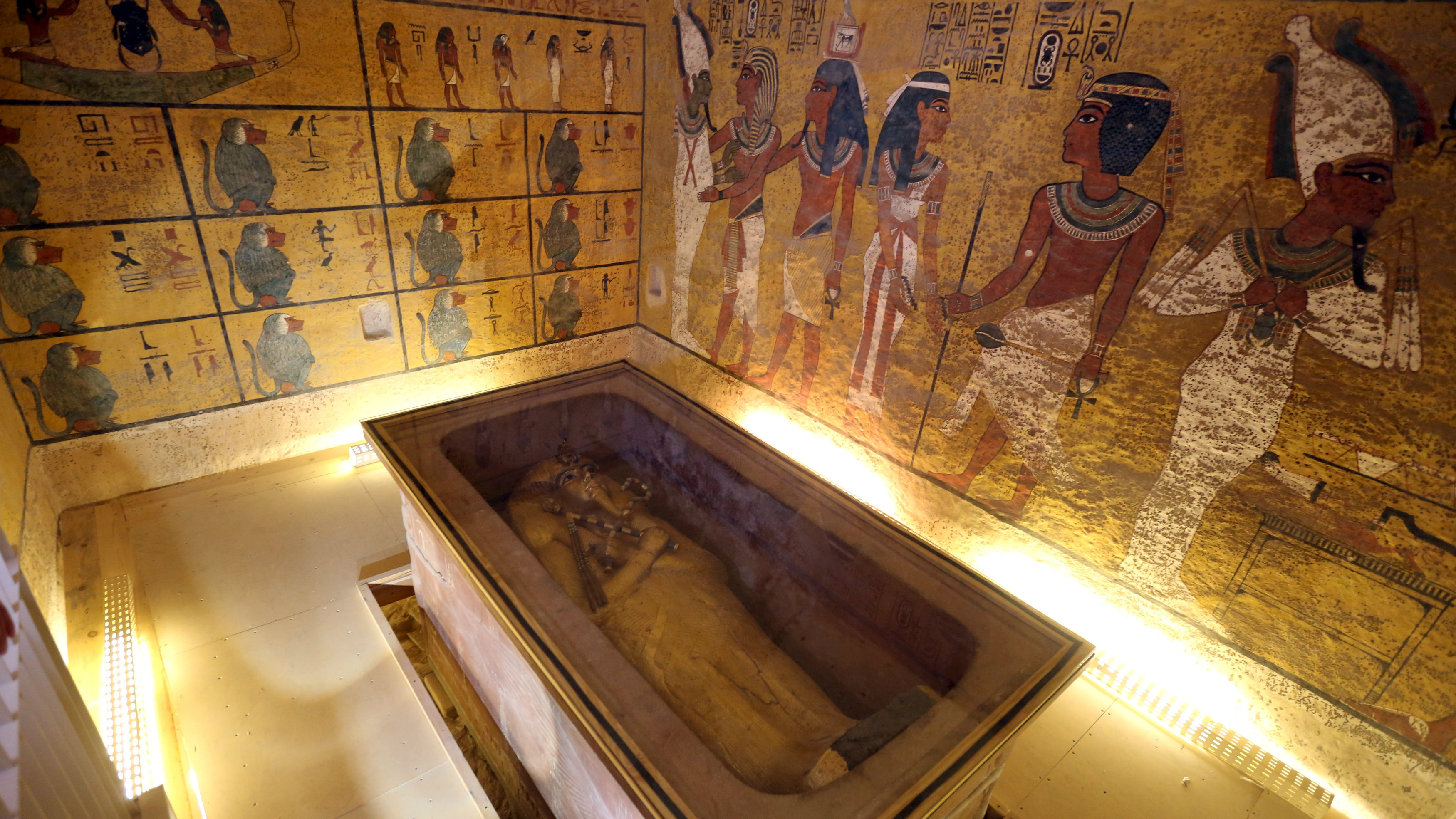 he golden sarcophagus of King Tutankhamun in his burial chamber is seen in the Valley of the Kings, in Luxor, Egypt, November 28, 2015. Chances are high that the tomb of Ancient Egypt's boy-king Tutankhamun has passages to a hidden chamber, which may be the last resting place of Queen Nefertiti, and new evidence from the site will go to Japan for analysis, experts said on Saturday.