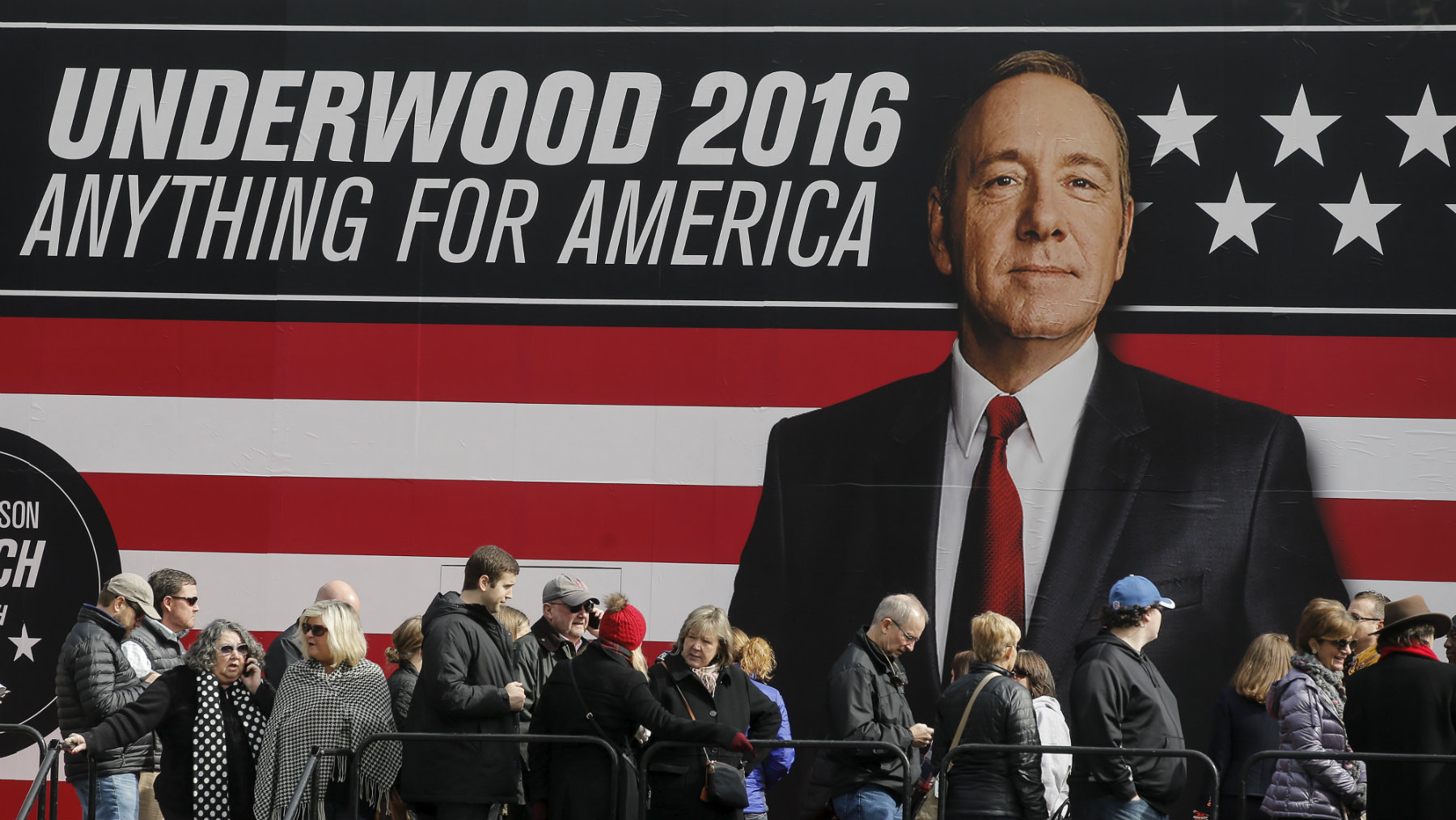 """People line up outside a """"House of Cards"""" marketing campaign in Greenville, South Carolina."""