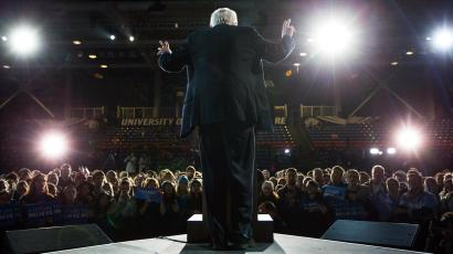 Democratic presidential candidate, Sen. Bernie Sanders, I-Vt. speaks during a campaign stop at the University of New Hampshire Whittemore Center Arena, Monday, Feb. 8, 2016, in Durham, N.H.