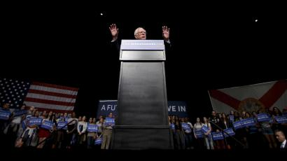Democratic U.S. presidential candidate Senator Bernie Sanders speaks to supporters on the night of the Michigan, Mississippi and other primaries at his campaign rally in Miami, Florida March 8, 2016.