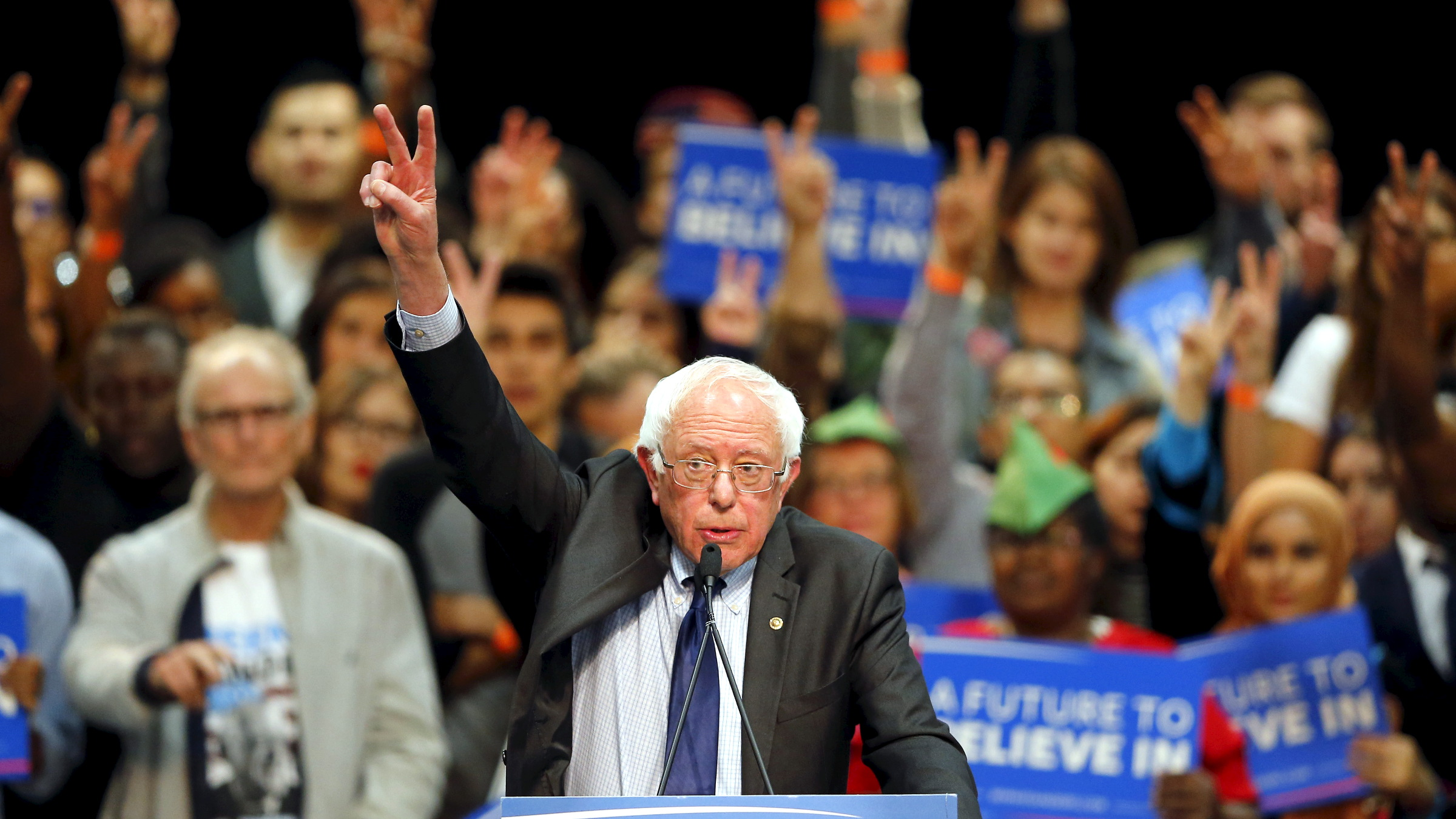 Democratic U.S. presidential candidate Bernie Sanders gestures as he speaks about the terror attack in Brussels during a campaign rally in San Diego, California March 22, 2016.