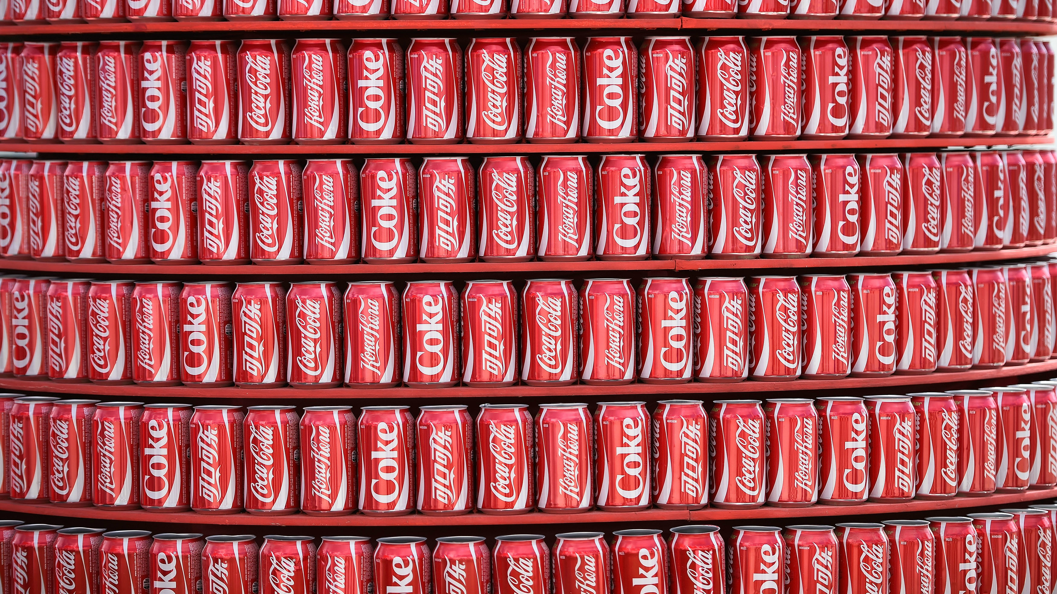 Stacks of soda cans.