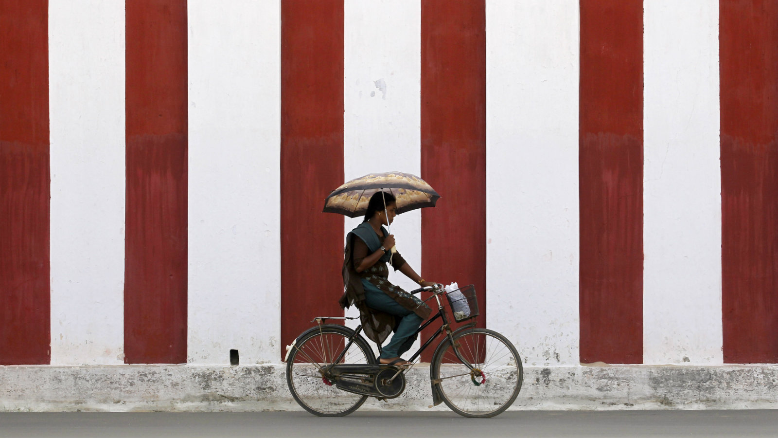 A woman rides her bicycle on a road in Jaffna September 10, 2012.