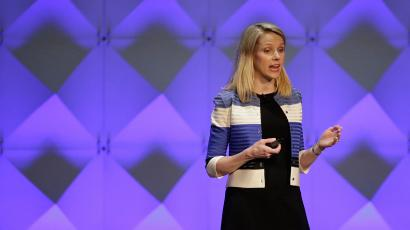 FILE - In this Feb. 18, 2016 file photo, Yahoo CEO Marissa Mayer delivers the keynote address at the Yahoo Mobile Developer Conference in San Francisco. Yahoo's board is creating a committee of independent directors and hiring a trio of economic advisers in its long-running bid to redefine itself. Shares rose nearly 2 percent before the opening bell Friday, Feb. 19, 2016. (AP Photo/Eric Risberg)