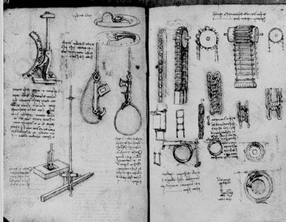 These are two of the 700 pages of manuscript by Leonardo Da Vinci which were found in the National Library of Madrid and show a variety of his inventions. At right are links and chain drivers, much like those on bicycles. Escapement, upper left, is used to convert linear into rotary motion as plunger is pushed down. At left center are two simple release mechanisms, like those in cranes. The manuscript pages had been lost for almost two centuries. February 14, 1967 photo. (AP Photo)