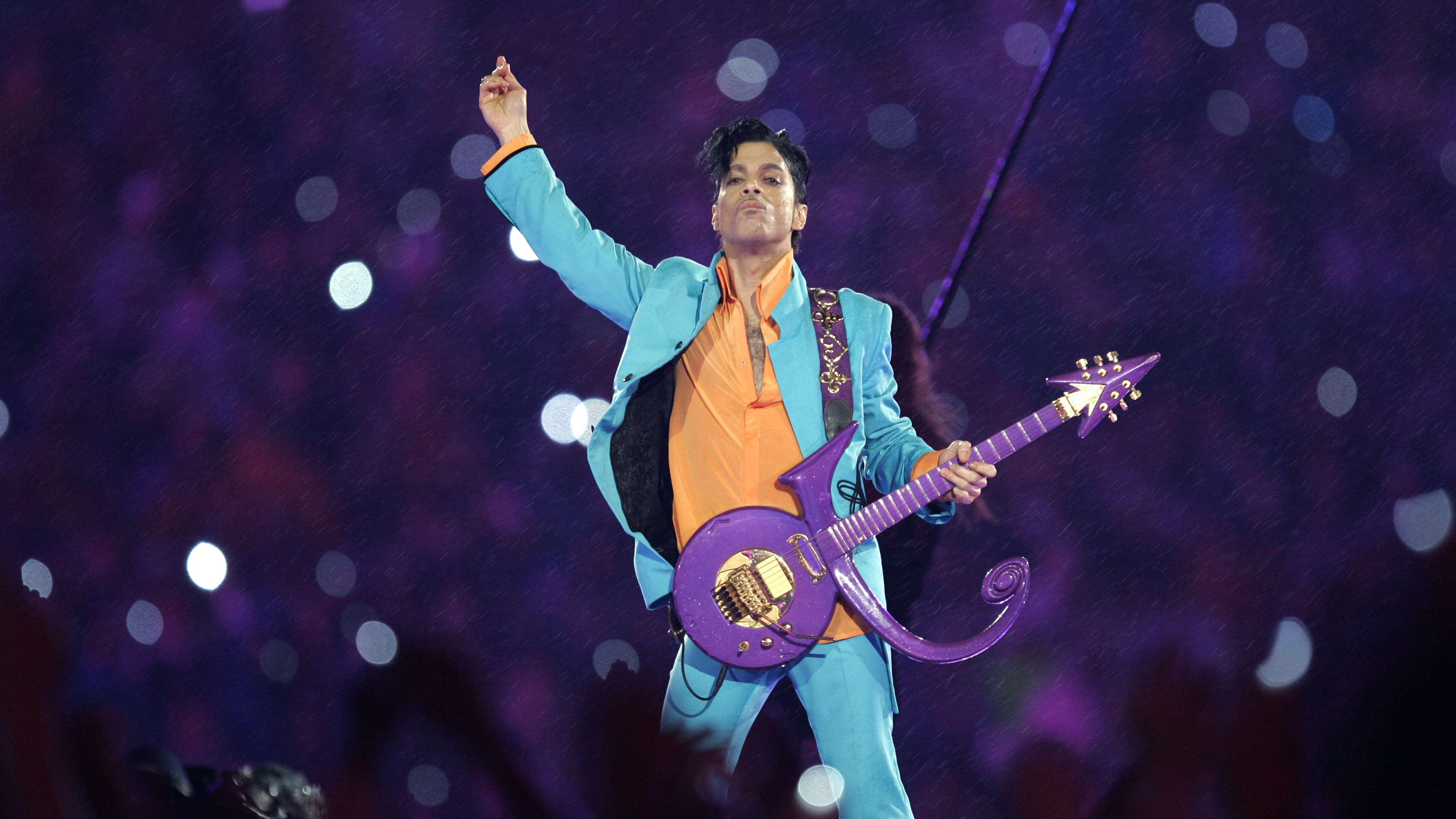 Prince performs during the halftime show at the Super Bowl XLI football game at Dolphin Stadium in Miami on Sunday, Feb. 4, 2007.