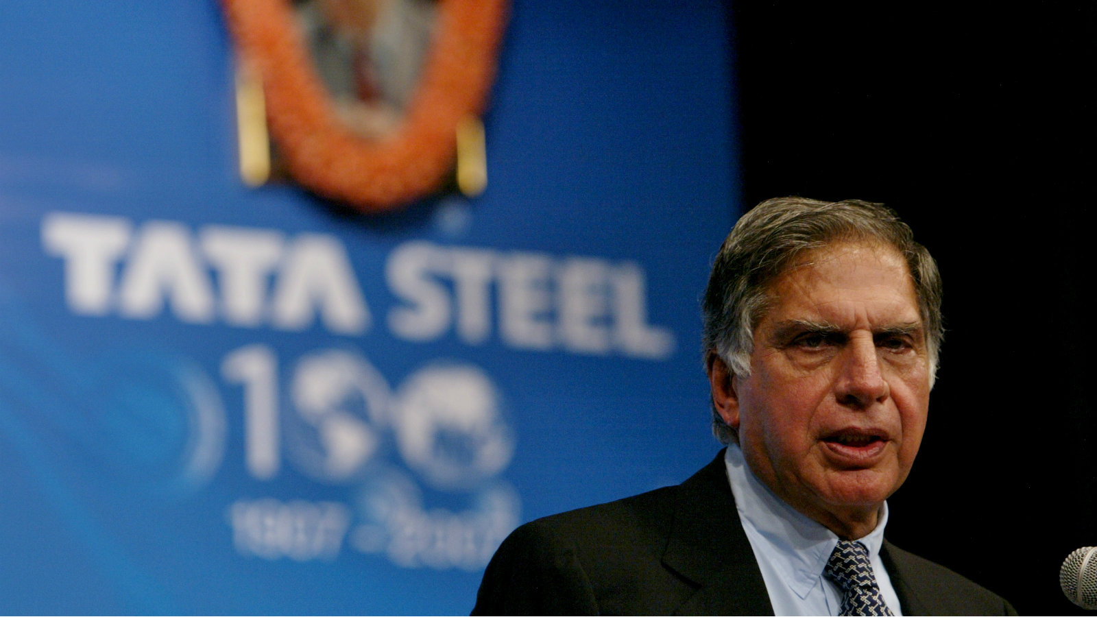 Tata Steel Chairman, Ratan Tata, speaks during the 100th Annual General Meeting of Tata Steel in Mumbai, India, Wednesday, Aug. 29, 2007. Tata Steel, the world's sixth largest steel maker, reported an over six-fold leap in its consolidated profit after tax (PAT) at Rupees 6,388 crore (US $1.55 Billion) in the first quarter this fiscal on acquisition of Anglo-Dutch steel maker Corus Group Plc early this year.