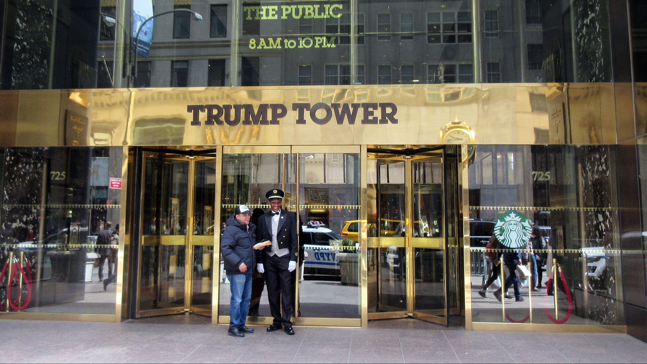 This April 8, 2016 file photo shows the entrance to Trump Tower in New York. The billionaire developer and Republican presidential candidate lives and works in the tower.