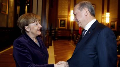 Germany's Angela Merkel and Turkey's Recep Tayyip Erdogan