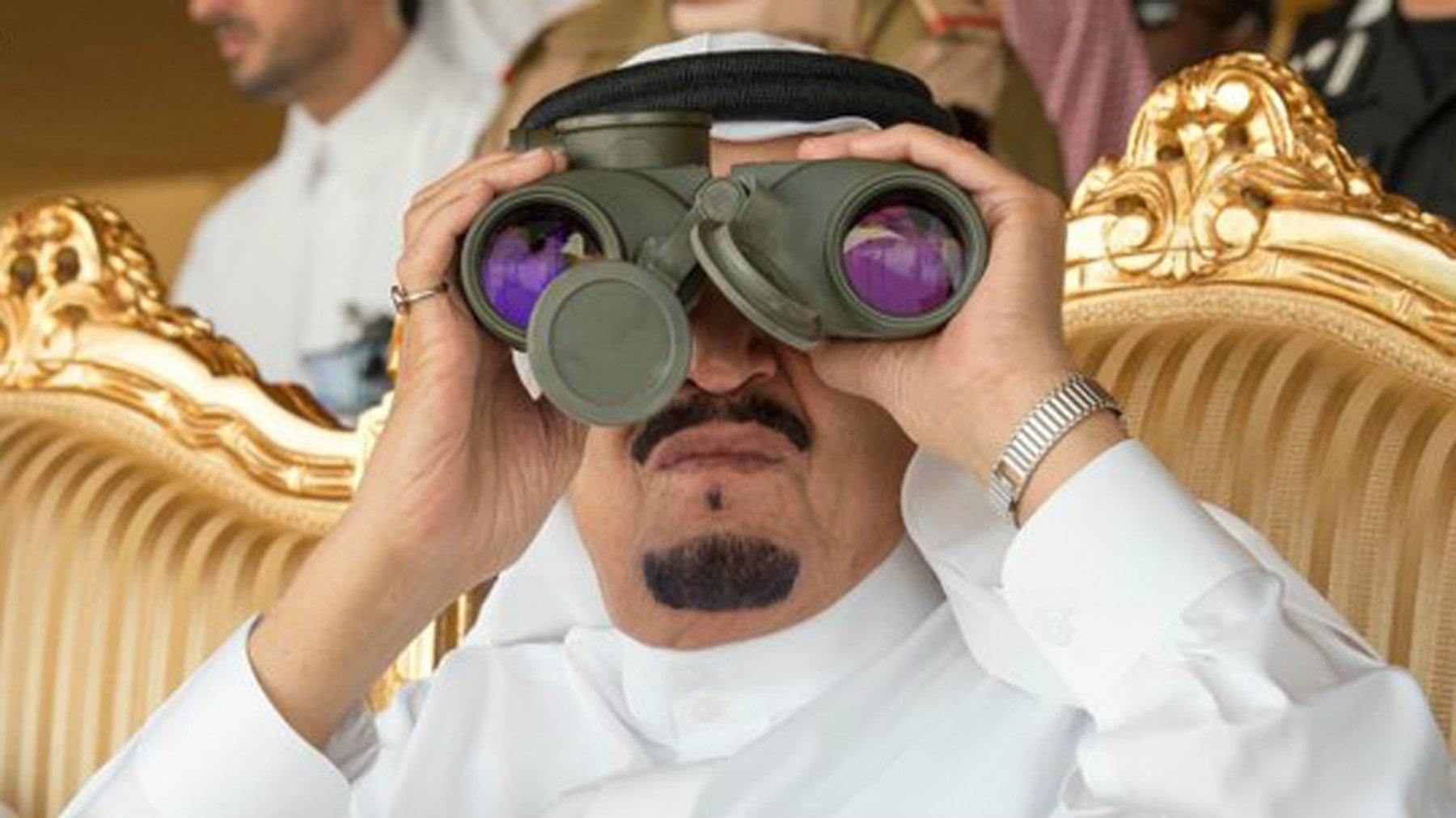 Saudi King Salman watches the North Thunder military exercises in Hafr Al-Baten, Saudi Arabia.