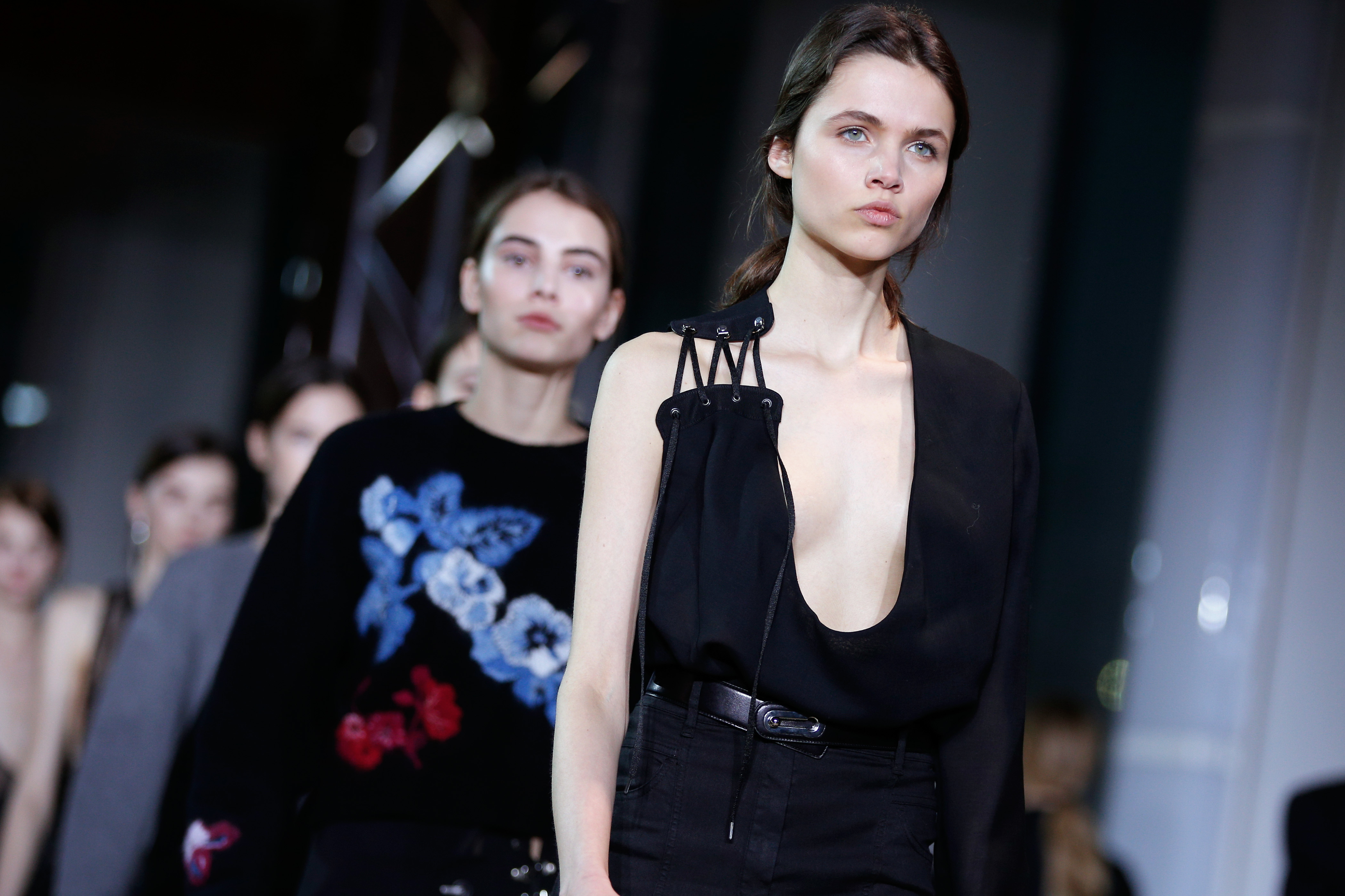 Models wear creations for Anthony Vaccarello's Fall-Winter 2016-2017 Ready to Wear fashion collection, presented Tuesday, March 1, 2016 in Paris.