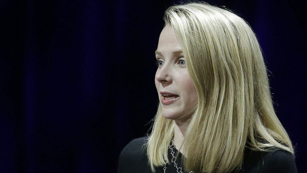 Yahoo President and CEO Marissa Mayer delivers the keynote address at the first-ever Yahoo Mobile Developer Conference Thursday, Feb. 19, 2015, in San Francisco. (AP Photo/Eric Risberg)