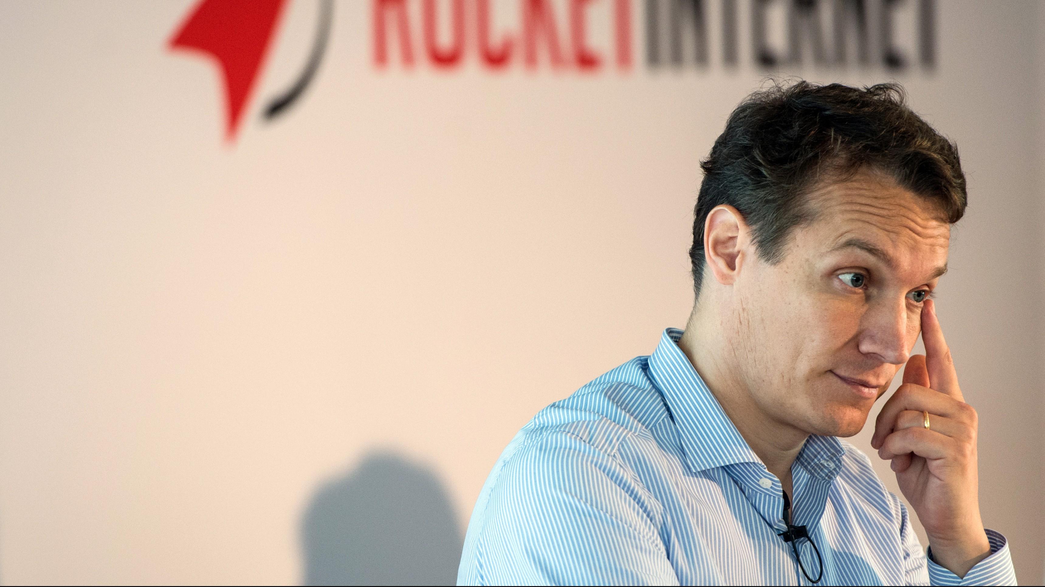 Oliver Samwer of Rocket Internet rubs his eye.