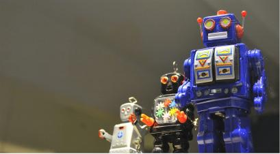 Toy robots in formation