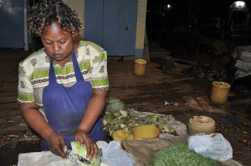 Ester Kimanzi at her grocery stall in Garissa's main market.