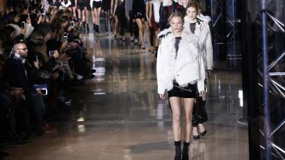 Models present creations by Anthony Vaccarello during the 2016-2017 fall/winter ready-to-wear collection fashion show on March 1, 2016 in Paris.