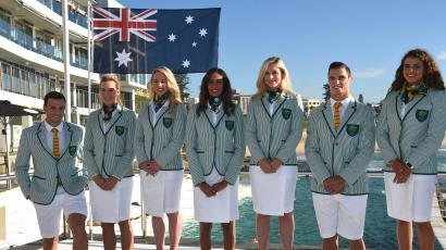 Australian Olympic team members (L-R) Josh Dunkley-Smith (rowing), Lou Bawden (beach volleyball), Kaarle McCulloch (cycling), Taliqua Clancy (beach volleyball), Annette Edmondson (cycling), Ed Jenkins (Rugby 7's) and Jessica Fox (canoe slalom), wear the Australian Olympic team Opening Ceremony uniform for the Rio 2016 Olympic Games for the first time at Bondi Iceberg's swimming pool in Sydney on March 30, 2016. / AFP / PETER PARKS / --IMAGE RESTRICTED TO EDITORIAL USE - STRICTLY NO COMMERCIAL USE-- (Photo credit should read PETER PARKS/AFP/Getty Images)