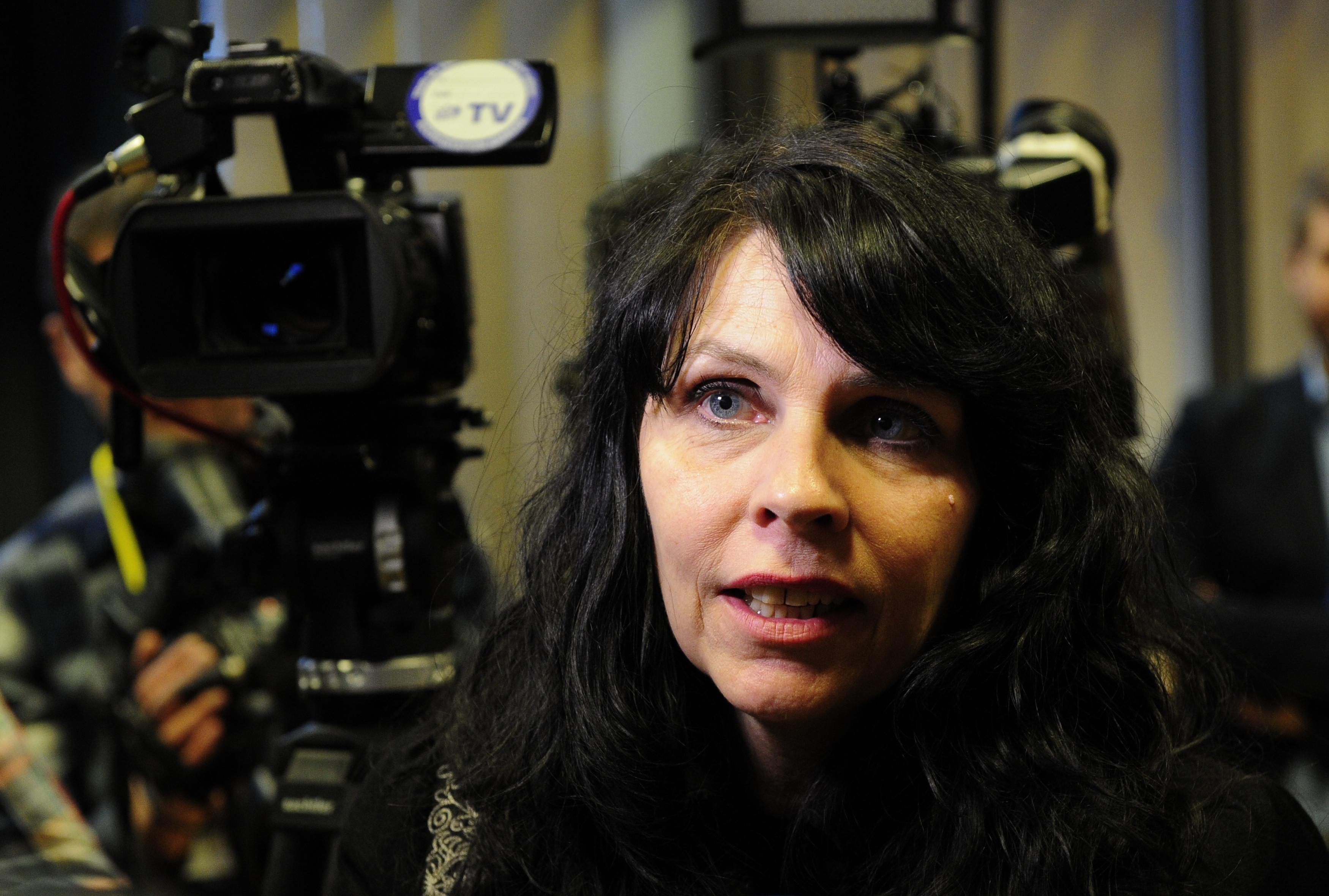 Birgitta Jonsdottir of the Pirate Party speaks in Reykjavik