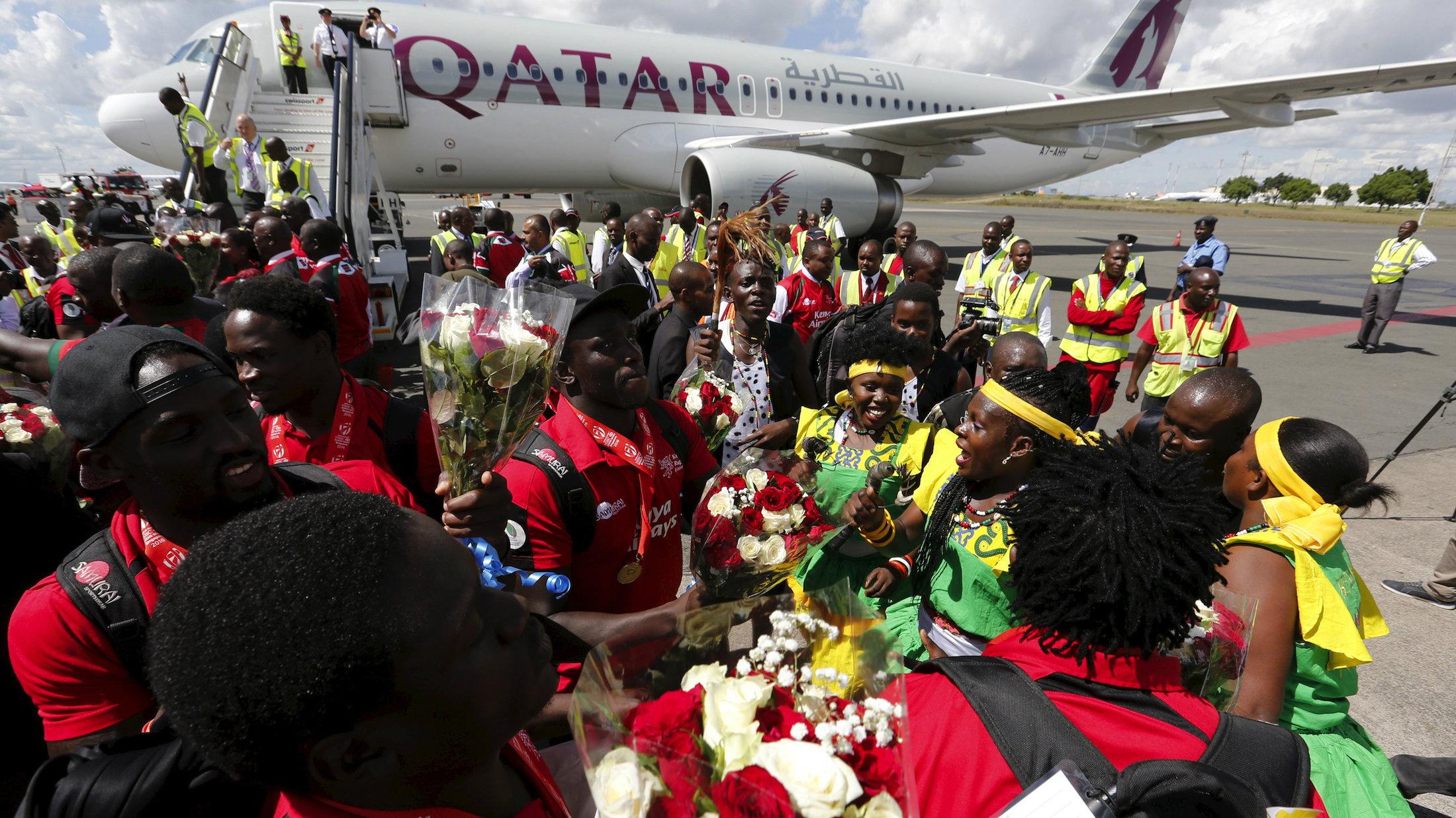 Kenya's rugby team returns home on a Qatar Airways flight