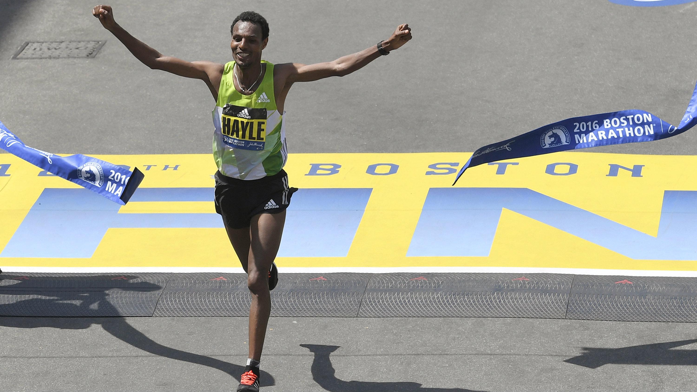 man finishing marathon