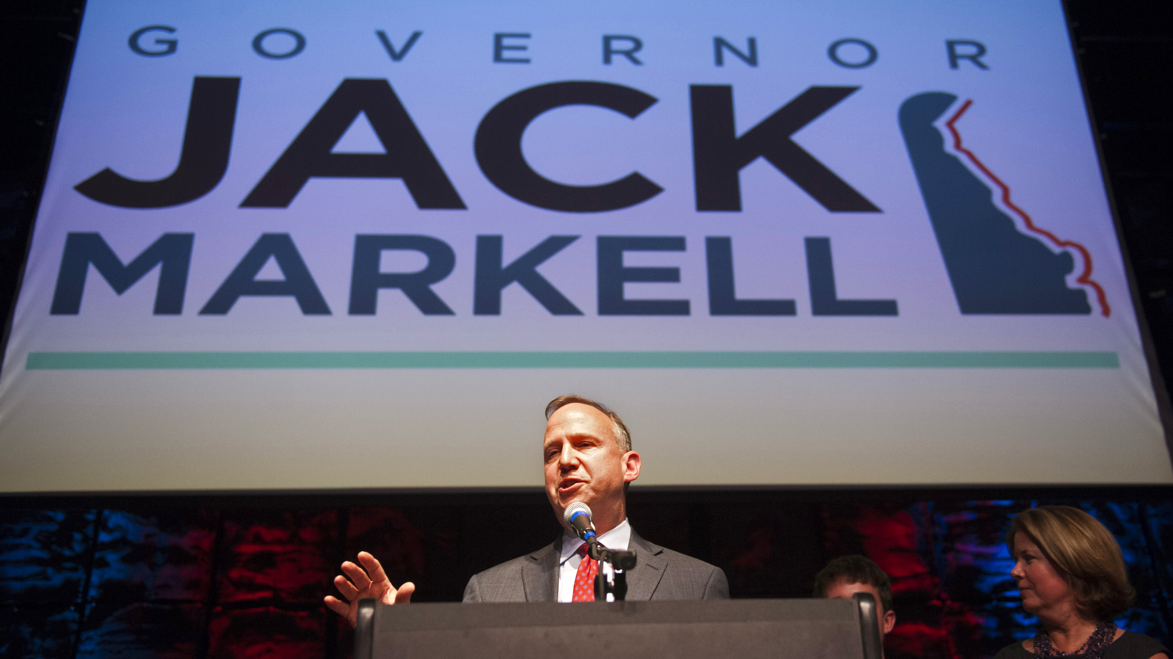 Delaware Gov. Jack Markell addresses supporters as he celebrates his re-election at the Delaware Democratic Party Election Night at the Queen theater in Wilmington, Del., Tuesday, Nov. 6, 2012.
