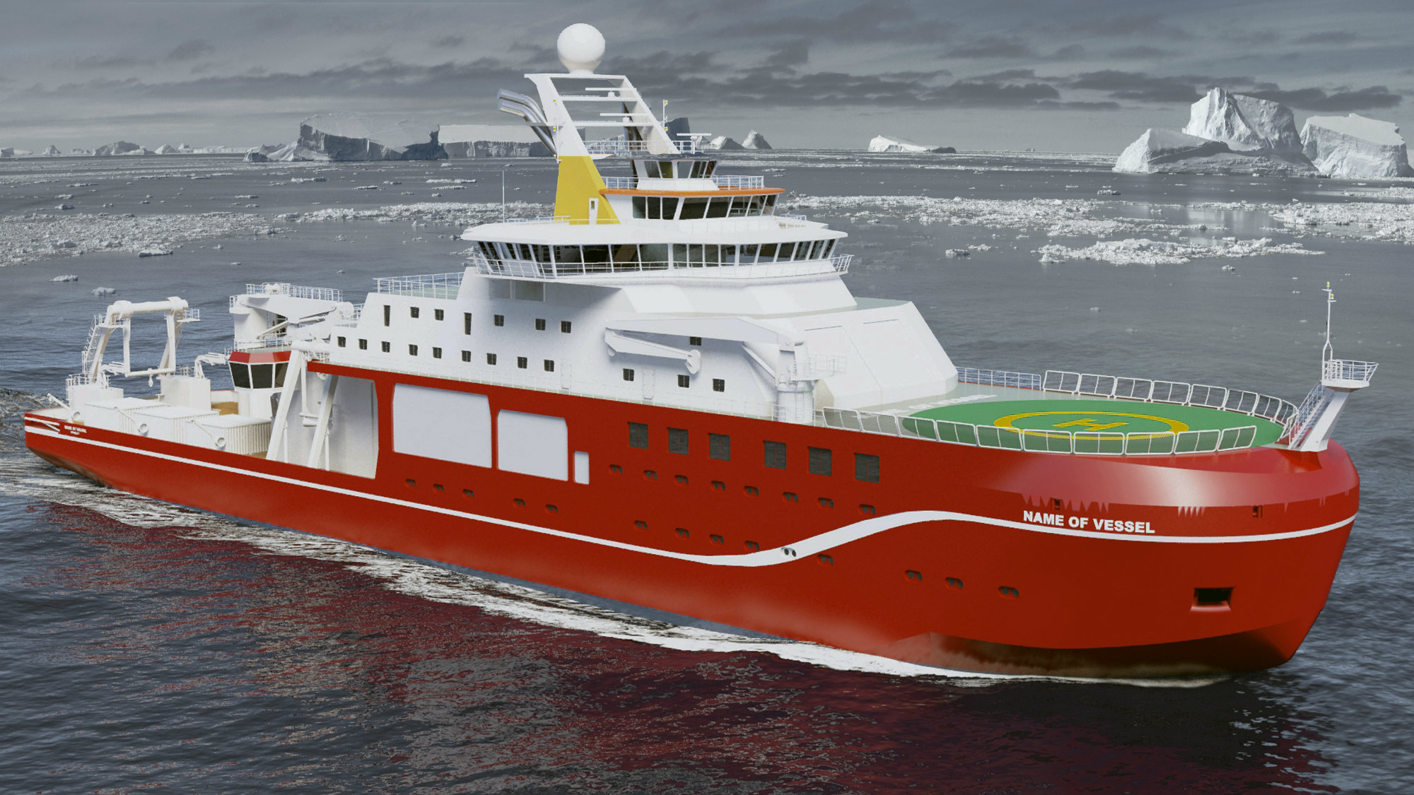 A drawing of the UK's new polar vessel.