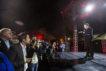"Elon Musk, CEO of Tesla Motors Inc., announces its new Tesla ""D"", a new all-wheel-drive version of the Tesla Model S car in Hawthorne, Calif., Thursday, Oct. 9, 2014."