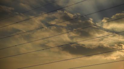 Cables from transmission towers, also known as electricity pylons.