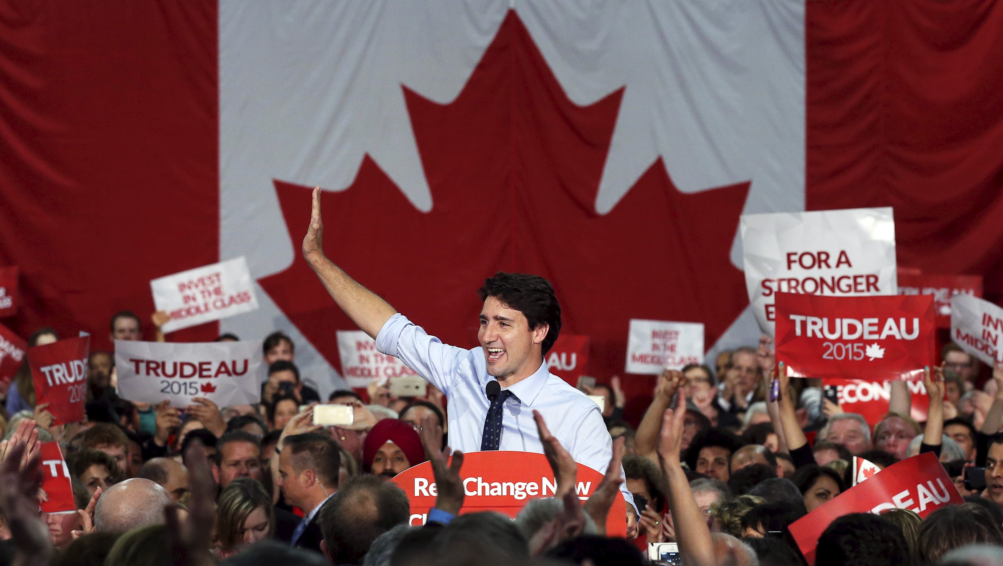 Liberal leader Trudeau waves during a campaign rally in North Vancouver