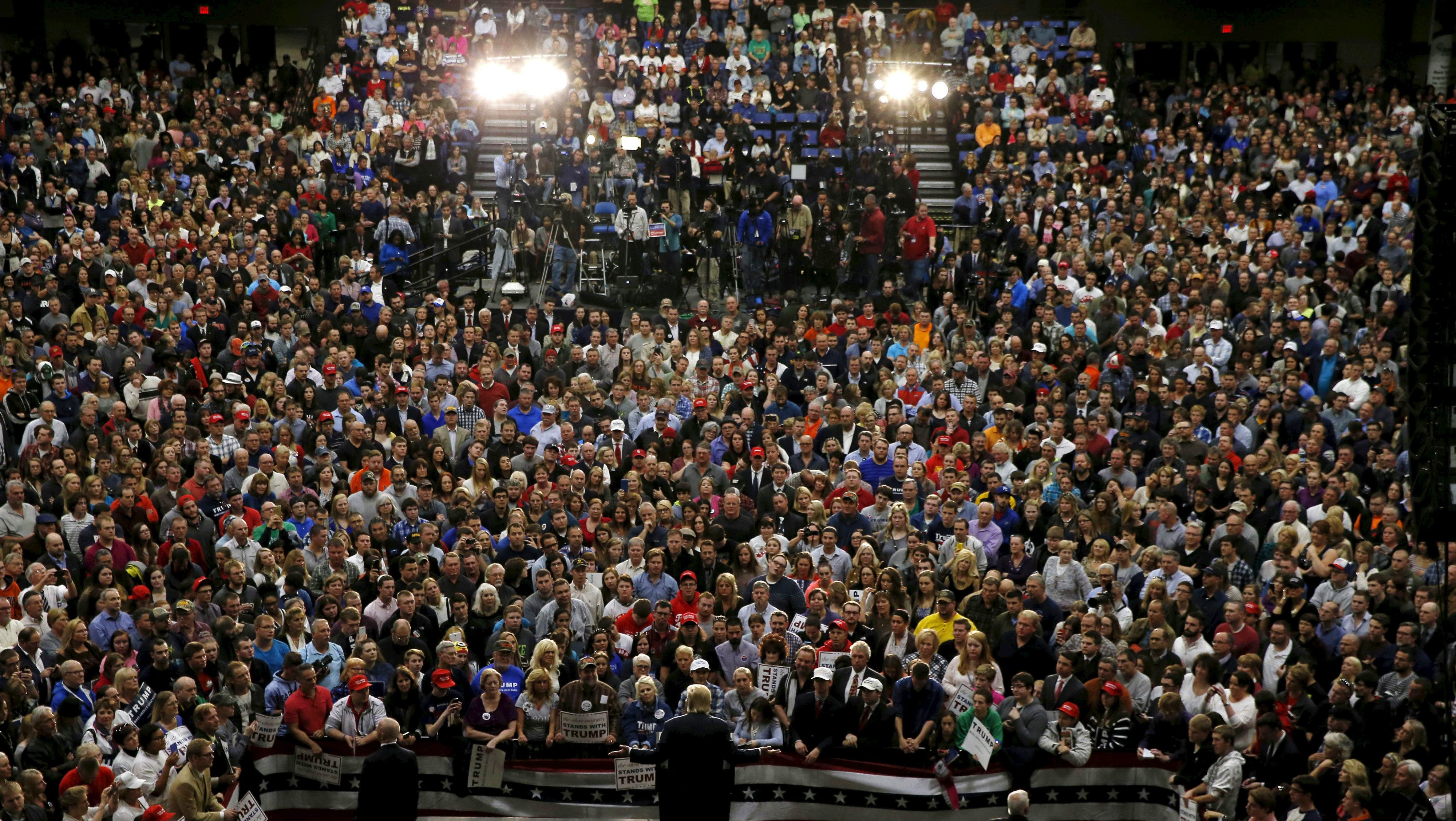 U.S. Republican presidential candidate Trump speaks at a campaign event in Springfield.