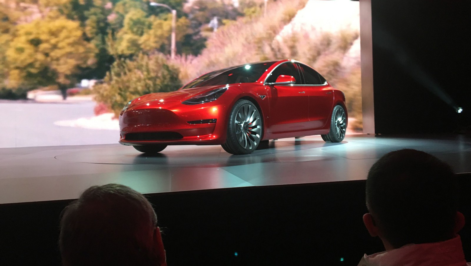 A Tesla Model 3 sedan, its first car aimed at the mass market, is displayed during its launch in Hawthorne, California, March 31, 2016. Picture taken March 31, 2016. REUTERS/Joe White - RTSD6Y0
