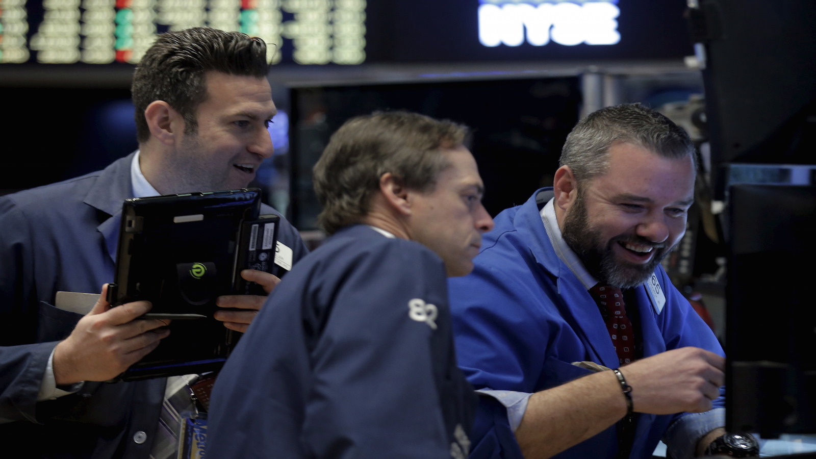 Traders work on the floor of the New York Stock Exchange (NYSE) April 4, 2016.
