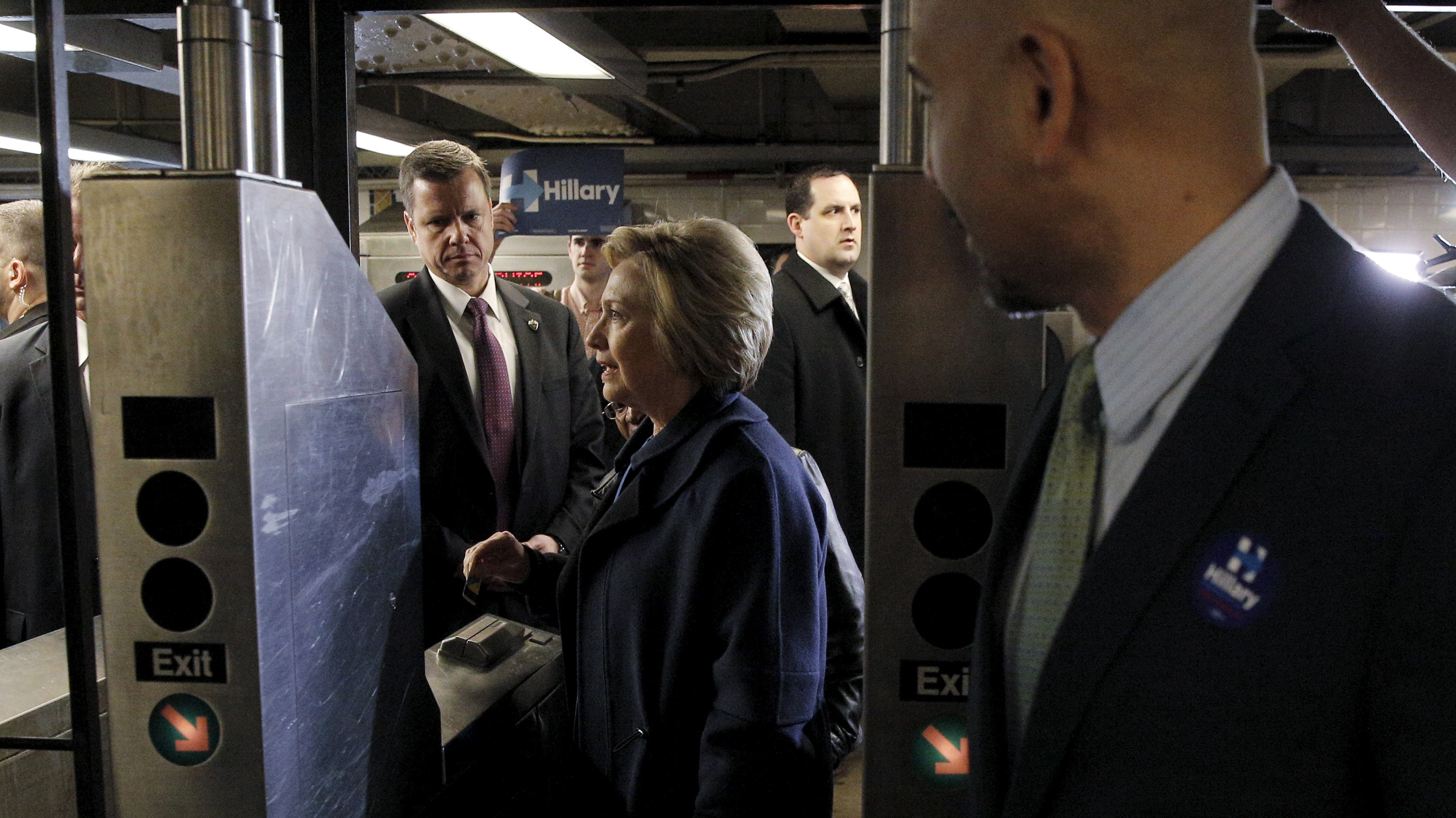 U.S. Democratic presidential candidate Hillary Clinton enters the subway in New York