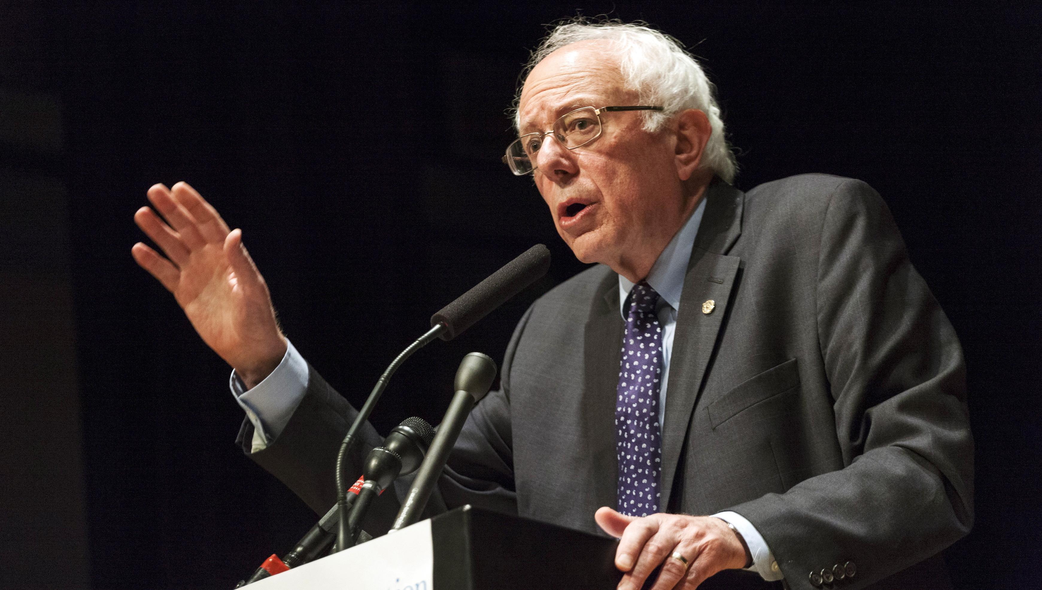 U.S. Democratic presidential candidate Bernie Sanders speaks at The Caspe Terrace, a Jewish community center in Waukee