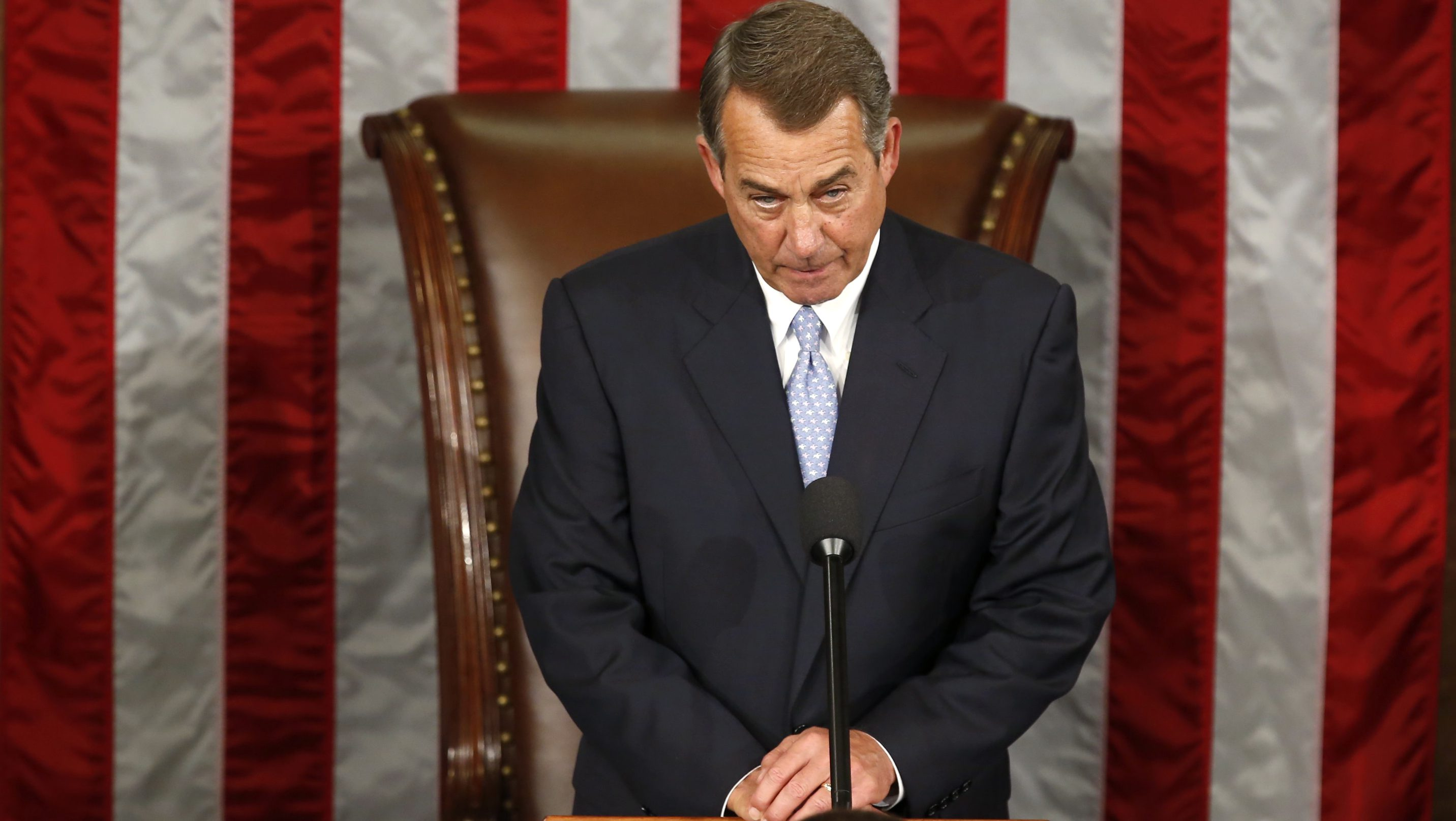 Outgoing House Speaker Boehner takes his place during election for the new Speaker of the U.S. House of Representatives on Capitol Hill in Washington