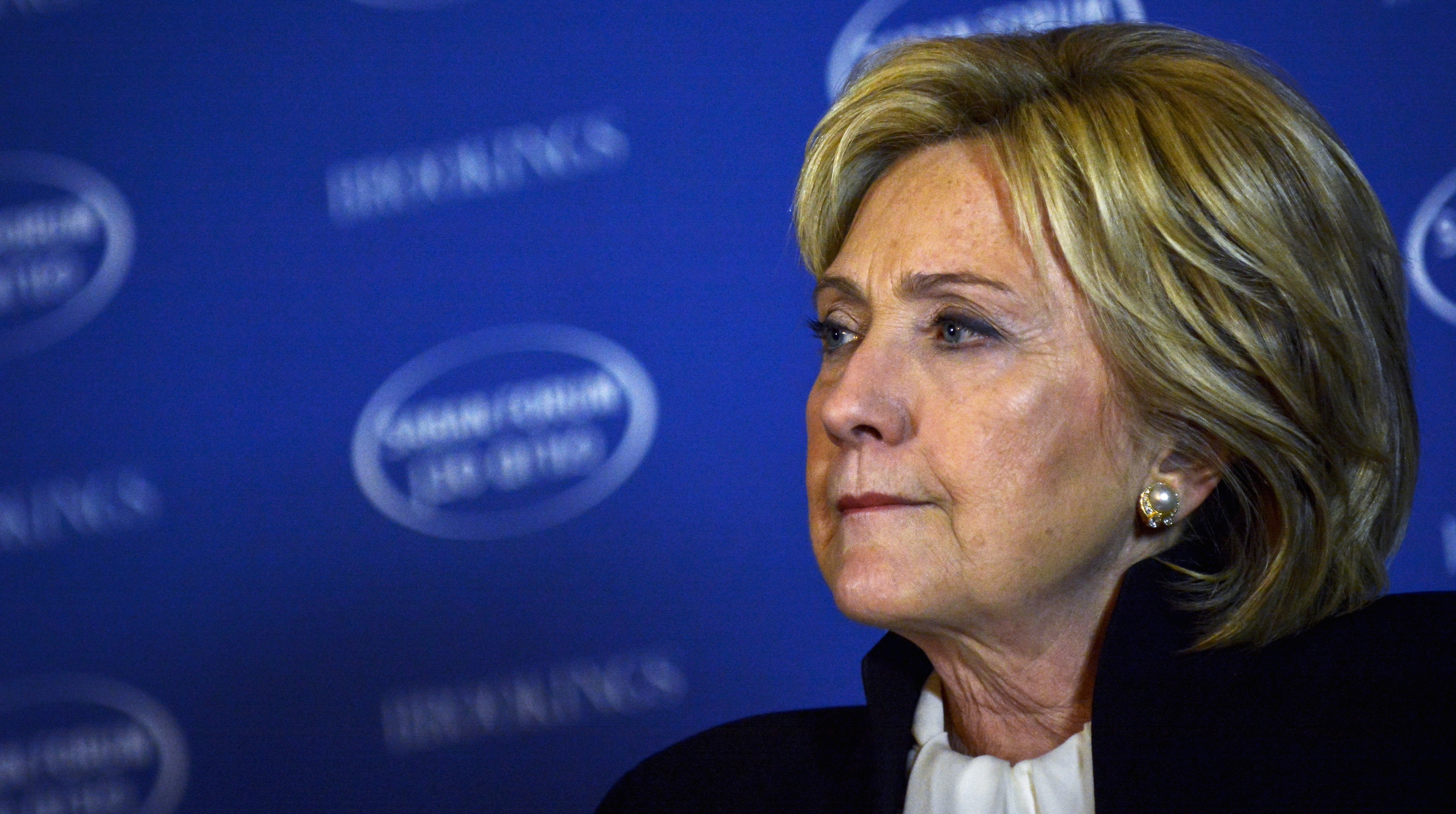U.S. Democratic presidential candidate and former Secretary of State Hillary Clinton takes questions from the audience after delivering the keynote address at the Brookings Institution Saban Forum at the Willard Hotel in Washington