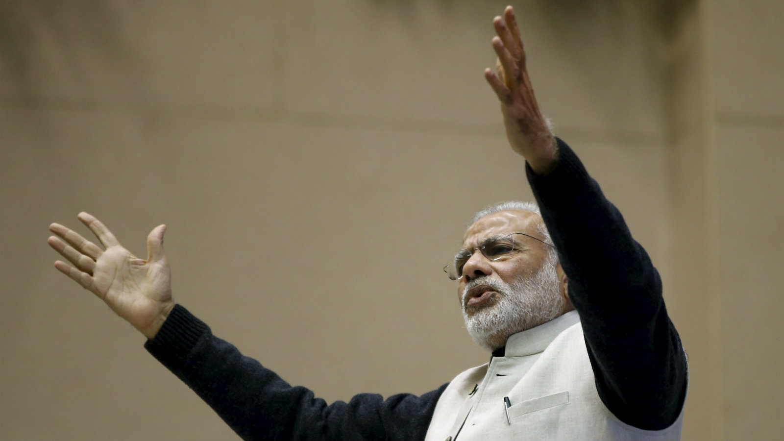 India's Prime Minister Narendra Modi gestures as he addresses a gathering during a conference of start-up businesses in New Delhi, India, January 16, 2016. Indian Prime Minister Modi launched a number of initiatives on Saturday to support the country's start-ups, including a 100 billion rupee ($1.5 billion) fund and a string of tax breaks for both the companies and their investors.
