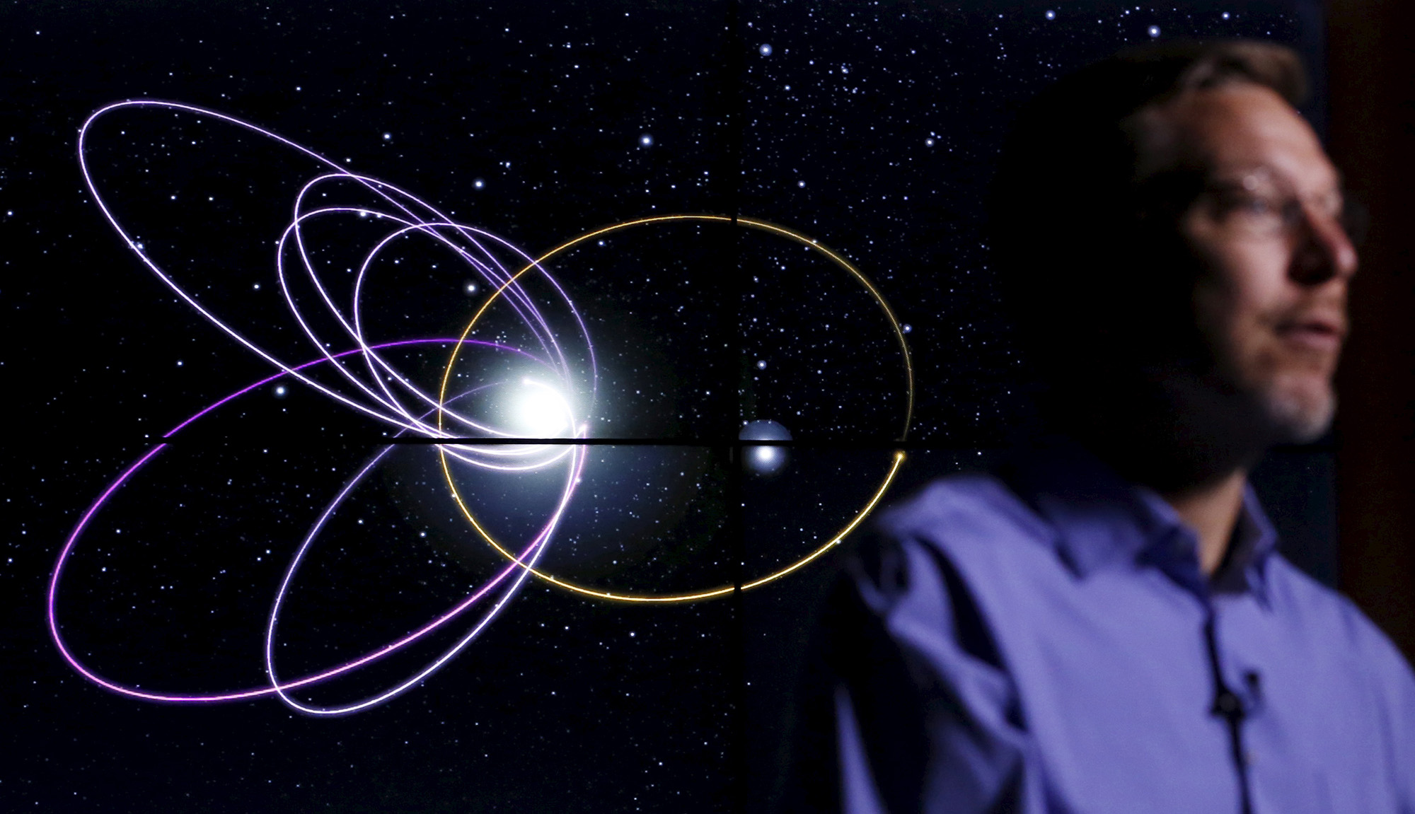 Professor of Planetary Astronomy Mike Brown speaks in front of a computer simulation of the probable orbit of Planet Nine (yellow) at the California Institute of Technology in Pasadena, California January 20, 2016. The solar system may host a ninth planet that is about 10 times bigger than Earth and orbiting far beyond Neptune, according to research published on Wednesday. REUTERS/Mario Anzuoni - RTX23ABT