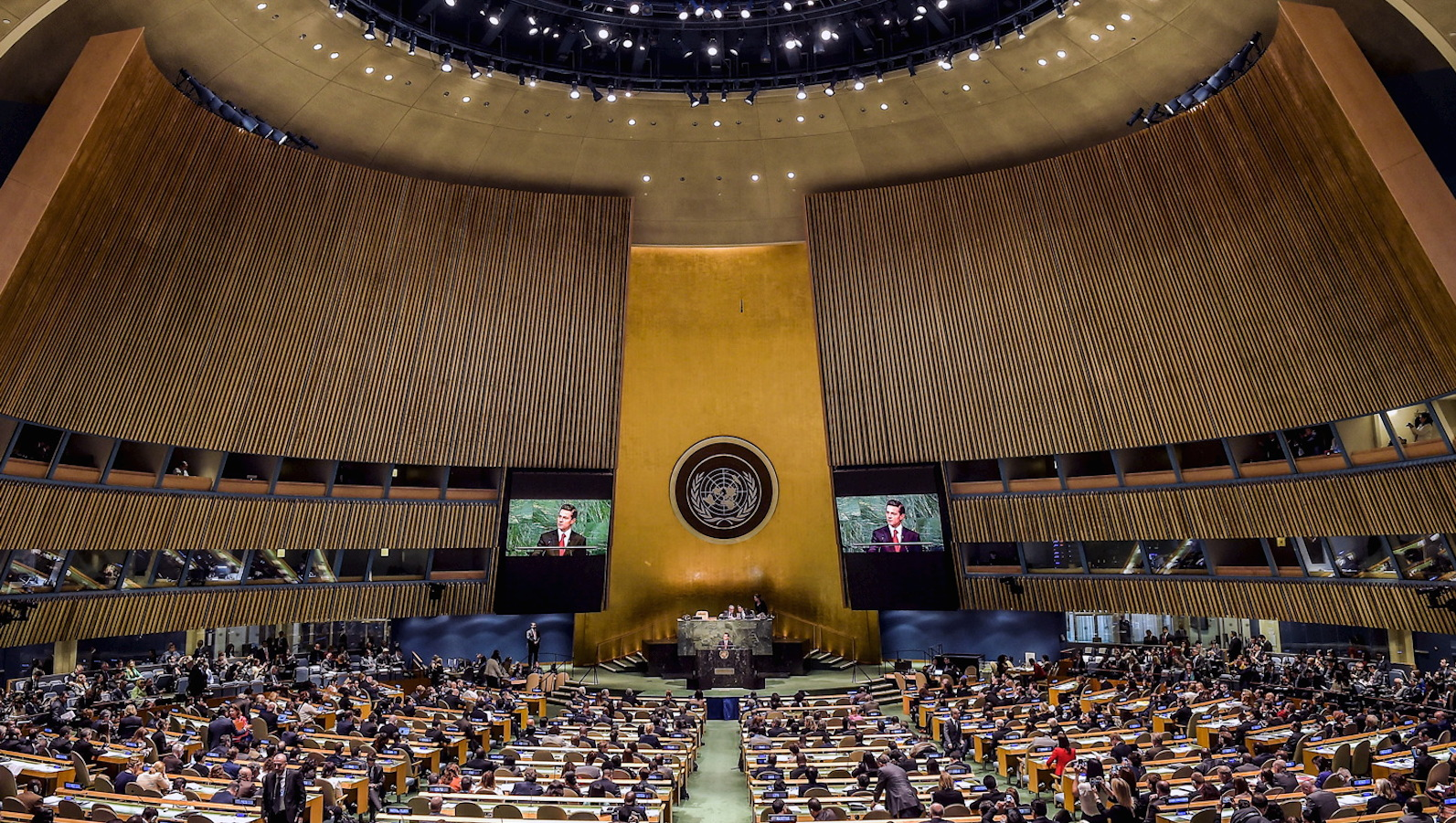 Mexican President Enrique Pena Nieto addresses the audience during a special session on global strategy in the war on drugs at the United Nations General Assembly in New York
