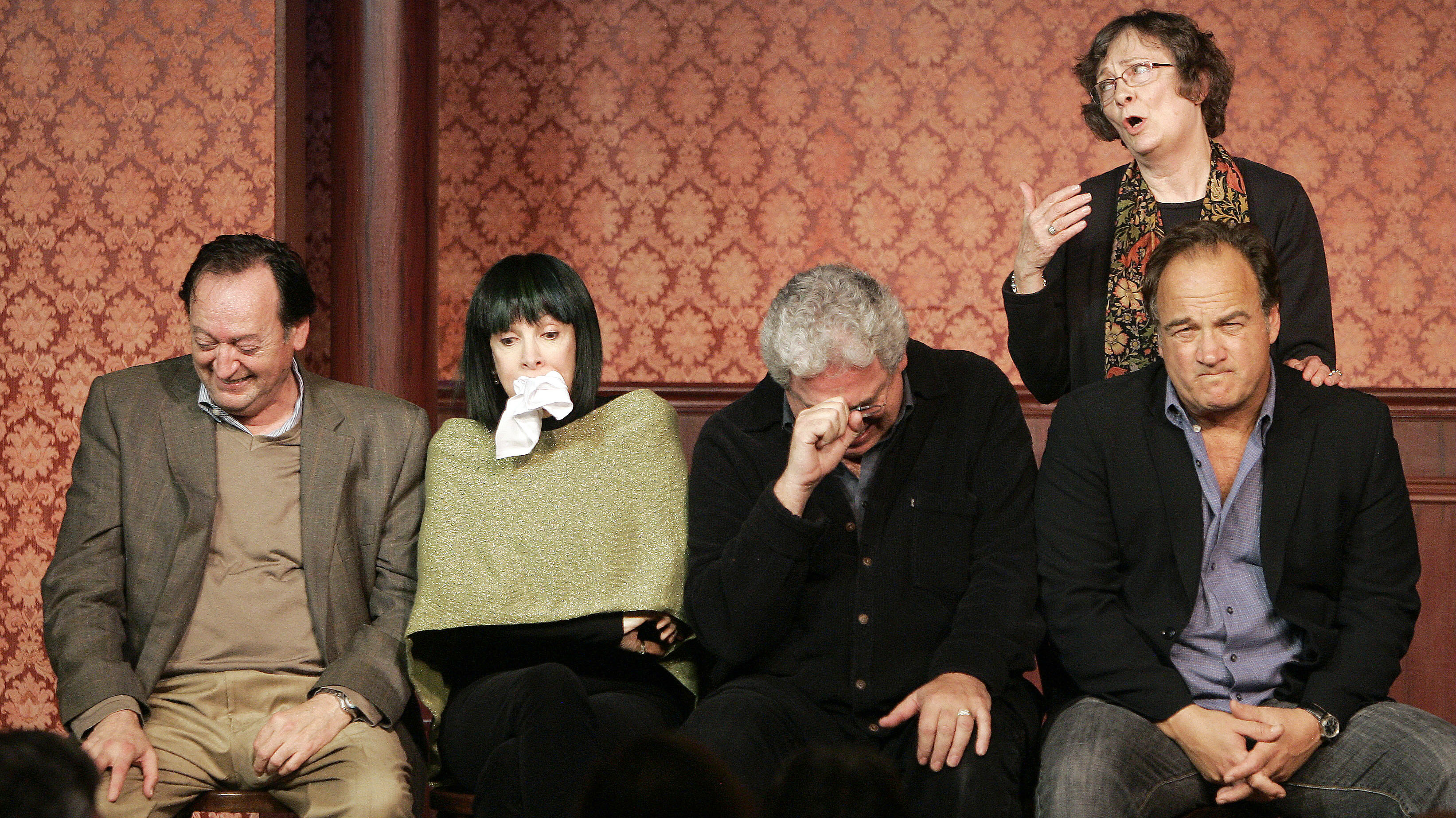 Jo Flaherty (L), Eugenie Ross-Leming (2nd L), Harold Ramis (2nd R), Jim Belushi (R) and Judy Morgan perform a skit as part of celebrations marking the 50th anniversary of improv theater, The Second City, in Chicago December 12, 2009. REUTERS/Frank Polich (UNITED STATES - Tags: ENTERTAINMENT SOCIETY)