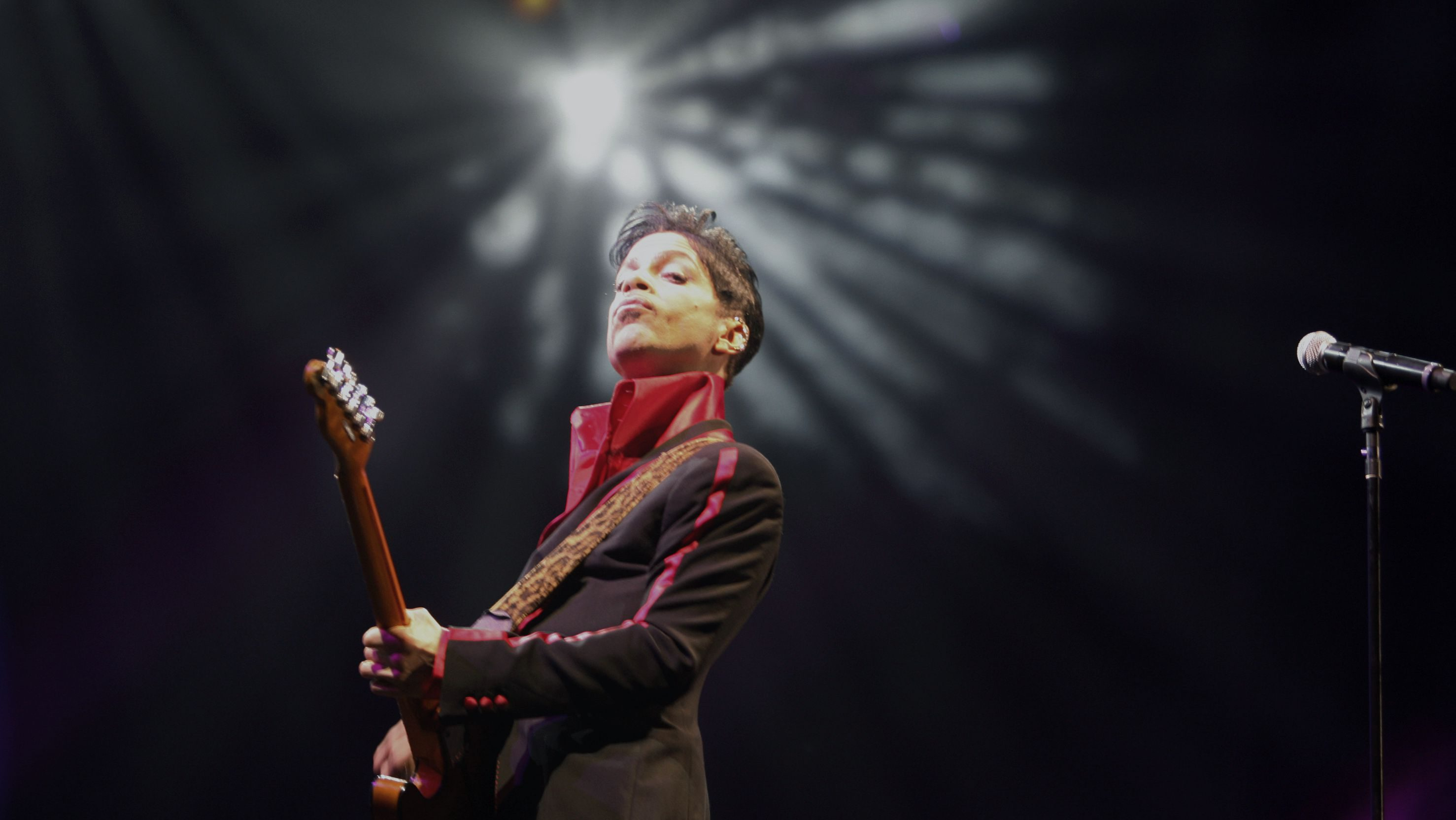 U.S. musician Prince performs on stage at Yas Arena in Yas Island