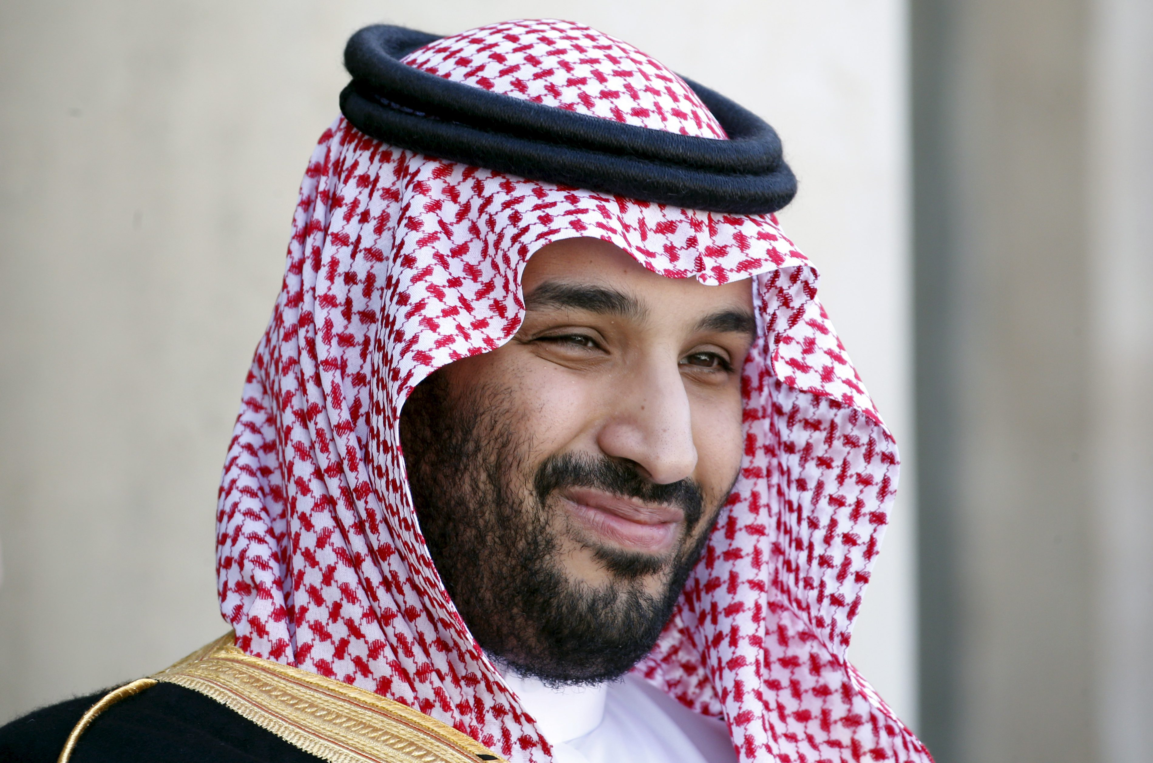 Saudi Arabia's Deputy Crown Prince Mohammed bin Salman reacts upon his arrival at the Elysee Palace in Paris, France in this June 24, 2015 file photo.