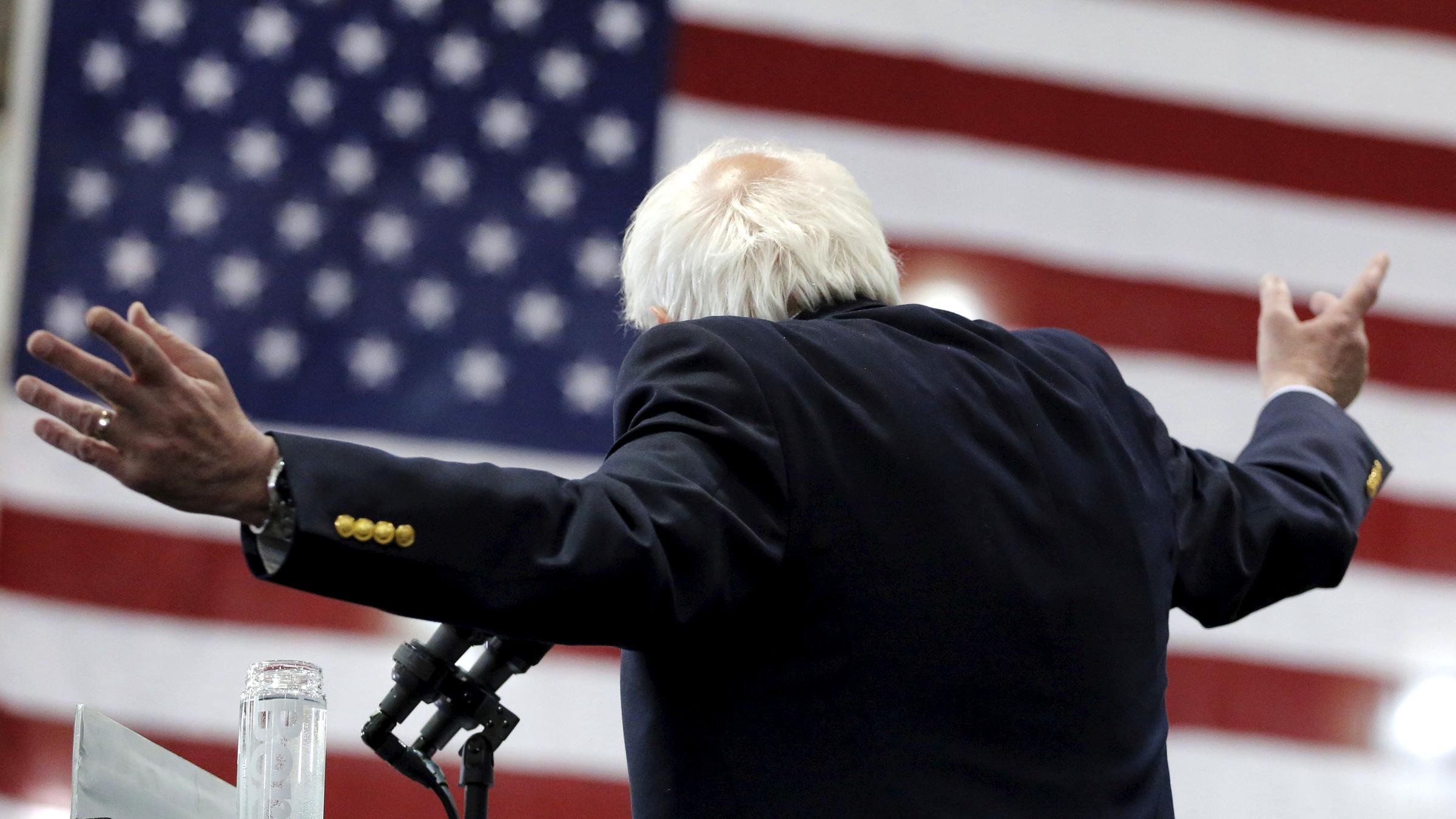 Democratic U.S. presidential candidate Bernie Sanders speaks during an election rally in Erie, Pennsylvania, U.S., April 19, 2016.