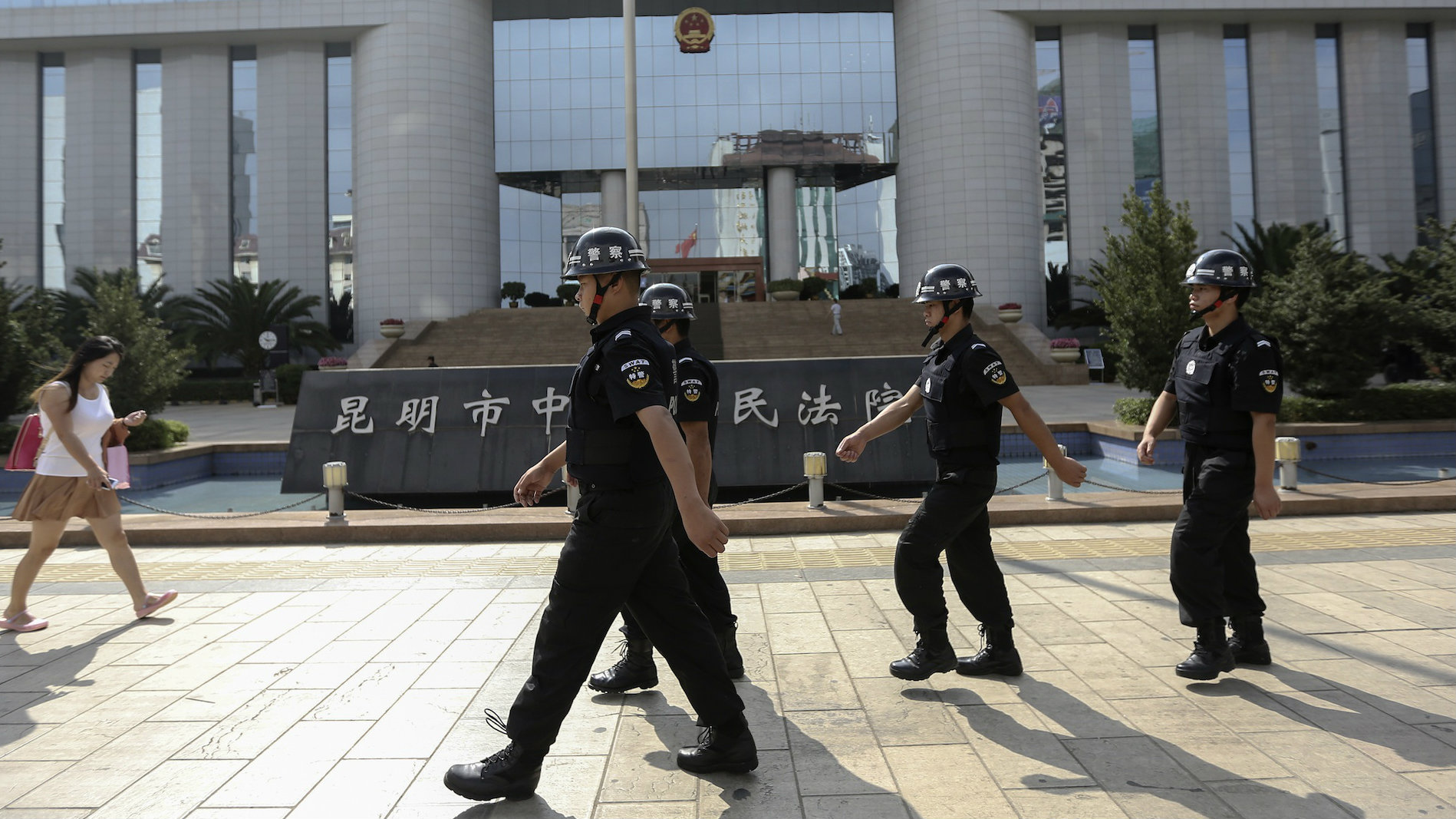 Security in front of a court house in China's Yunnan province