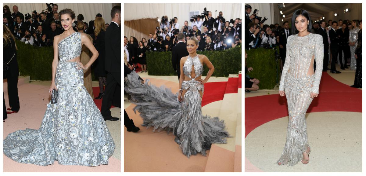met gala, Allison Williams in LaLigne, Rita Ora in Vera Wang, and Kylie Jenner in Balmain.