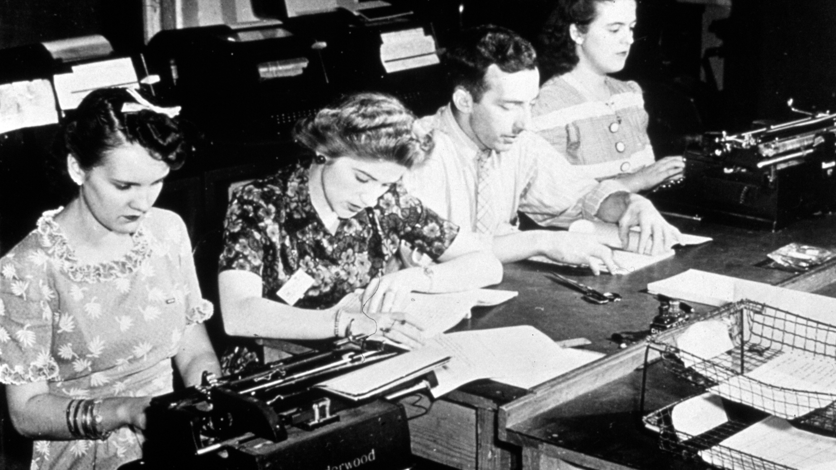 Weather forecasts being prepared for teletype.