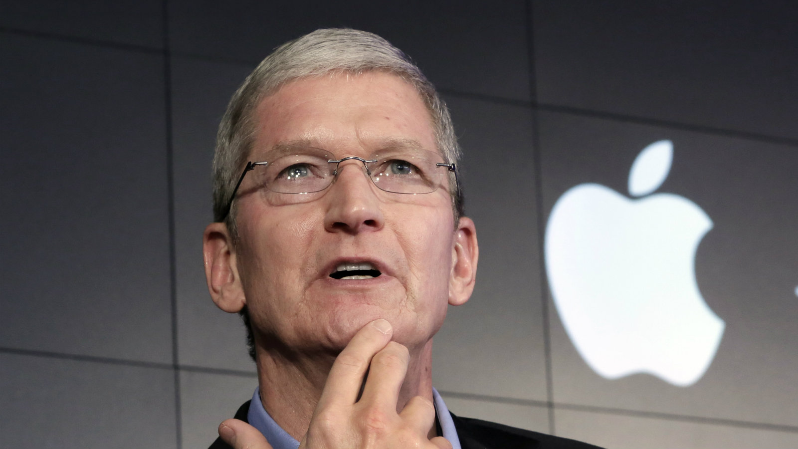 "In this April 30, 2015 file photo, Apple CEO Tim Cook responds to a question during a news conference at IBM Watson headquarters, in New York. Apple CEO Tim Cook laid out his company's plans for the vast Indian market in a meeting Saturday, May 21, 2016, with Prime Minister Narendra Modi, who in turn sought Apple's support for his ""Digital India"" initiative focusing on e-education, health and increasing farmers' incomes."