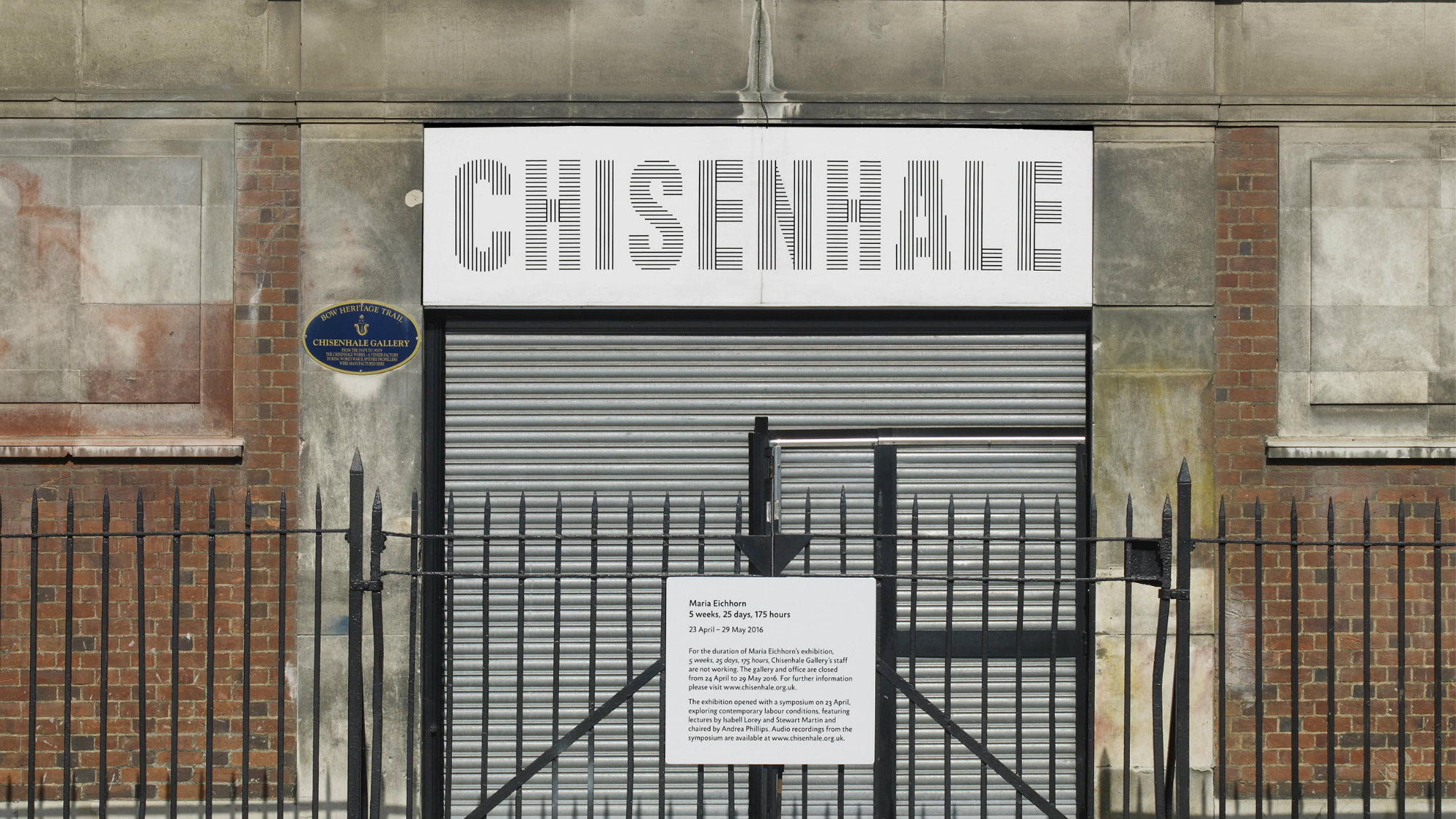 """Exterior shot of London's Chisenhale Gallery during Maria Eichhorn's """"5 weeks, 25 days, 175 hours."""""""