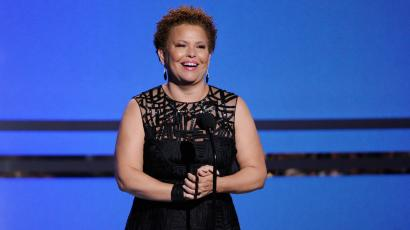Debra Lee, chairman and CEO of BET, speaks on stage at the BET Awards at the Nokia Theatre on Sunday, June 29, 2014, in Los Angeles. (Photo by Chris Pizzello/Invision/AP)